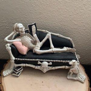 Skeleton On Couch Ashland Halloween Decor